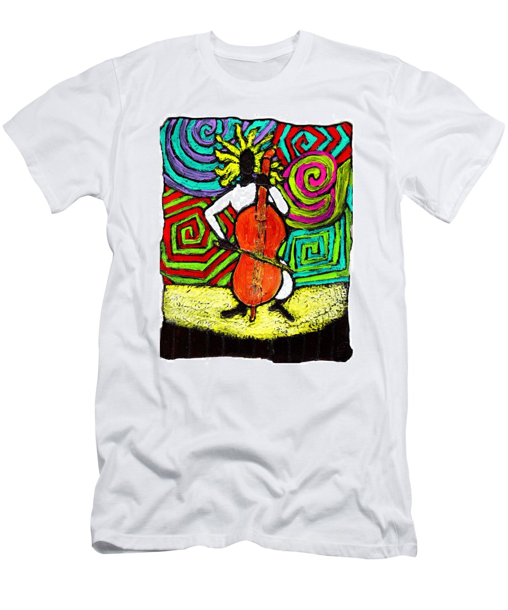 Music Men's T-Shirt (Athletic Fit) featuring the painting Cello Soloist by Wayne Potrafka