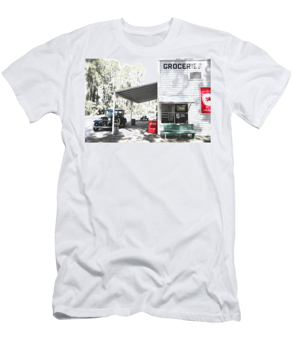 Chevy Men's T-Shirt (Athletic Fit) featuring the photograph Classic Chevrolet Automobile Parked Outside The Store by Mal Bray