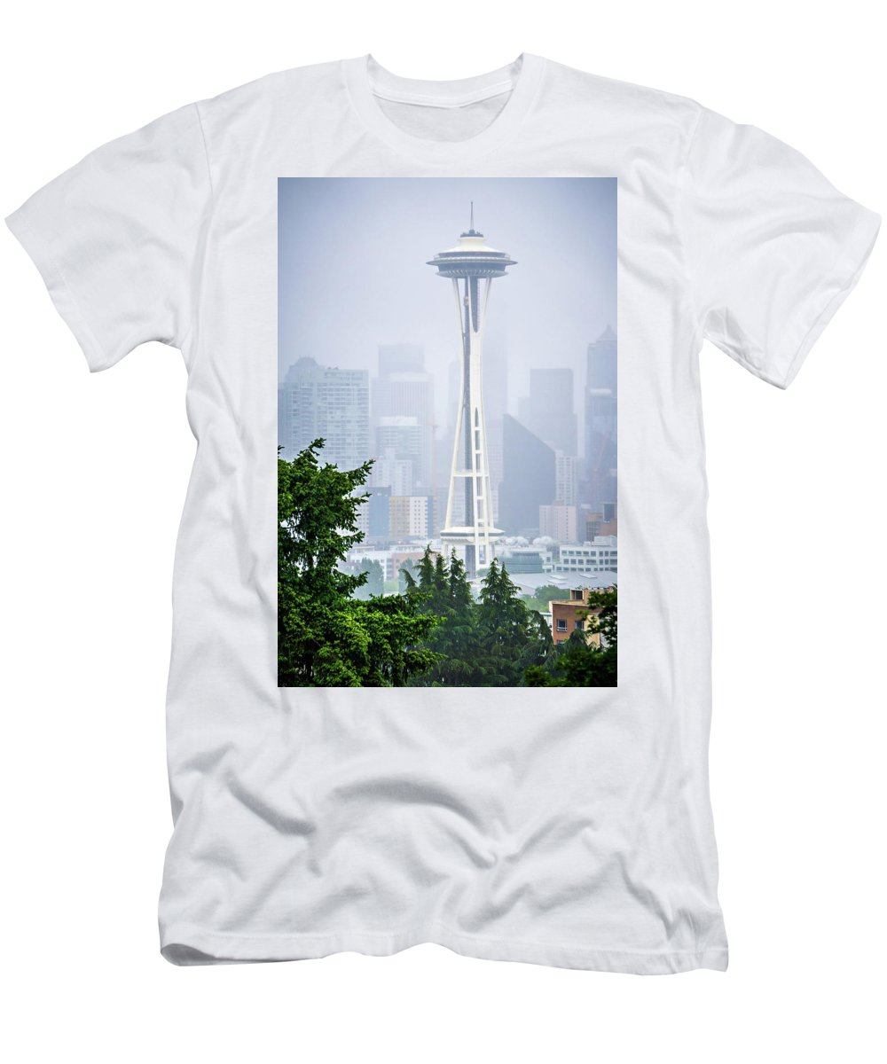 Skyline Men's T-Shirt (Athletic Fit) featuring the photograph Cloudy And Foggy Day With Seattle Skyline by Alex Grichenko