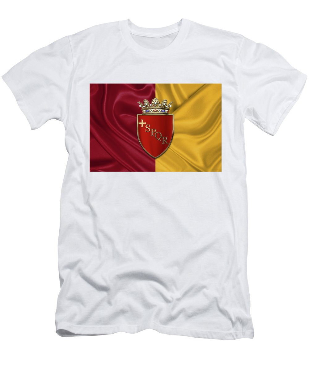 Rome Has The Status Of A Global City. Monuments And Museums Such As The Vatican Museums And The Colosseum Are Among The World's Most Visited Tourist Destinations With Both Locations Receiving Millions Of Tourists A Year. Rome Hosted The 1960 Summer Olympics And Is The Seat Of United Nations' Food And Agriculture Organization (fao). Men's T-Shirt (Slim Fit) featuring the photograph Coat Of Arms Of Rome Over Flag Of Rome by Serge Averbukh