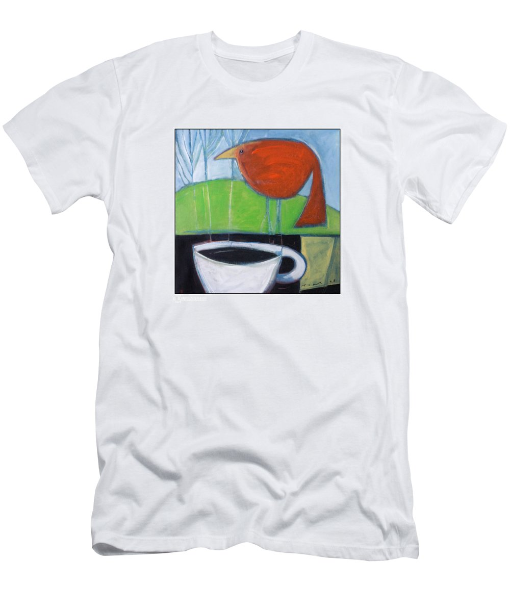 Bird Men's T-Shirt (Athletic Fit) featuring the painting Coffee With Red Bird by Tim Nyberg