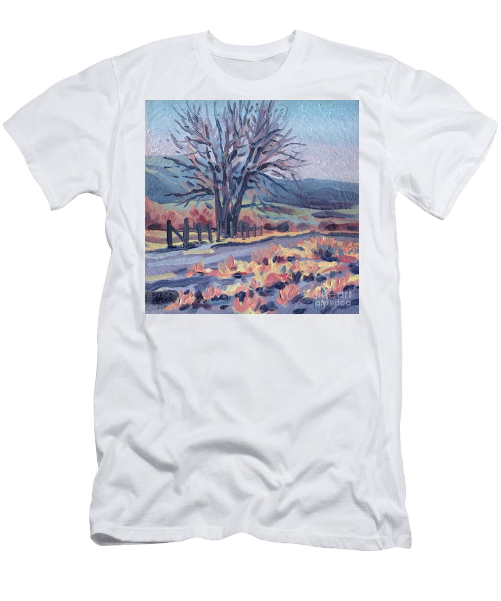 Road Men's T-Shirt (Athletic Fit) featuring the painting Country Road by Donald Maier