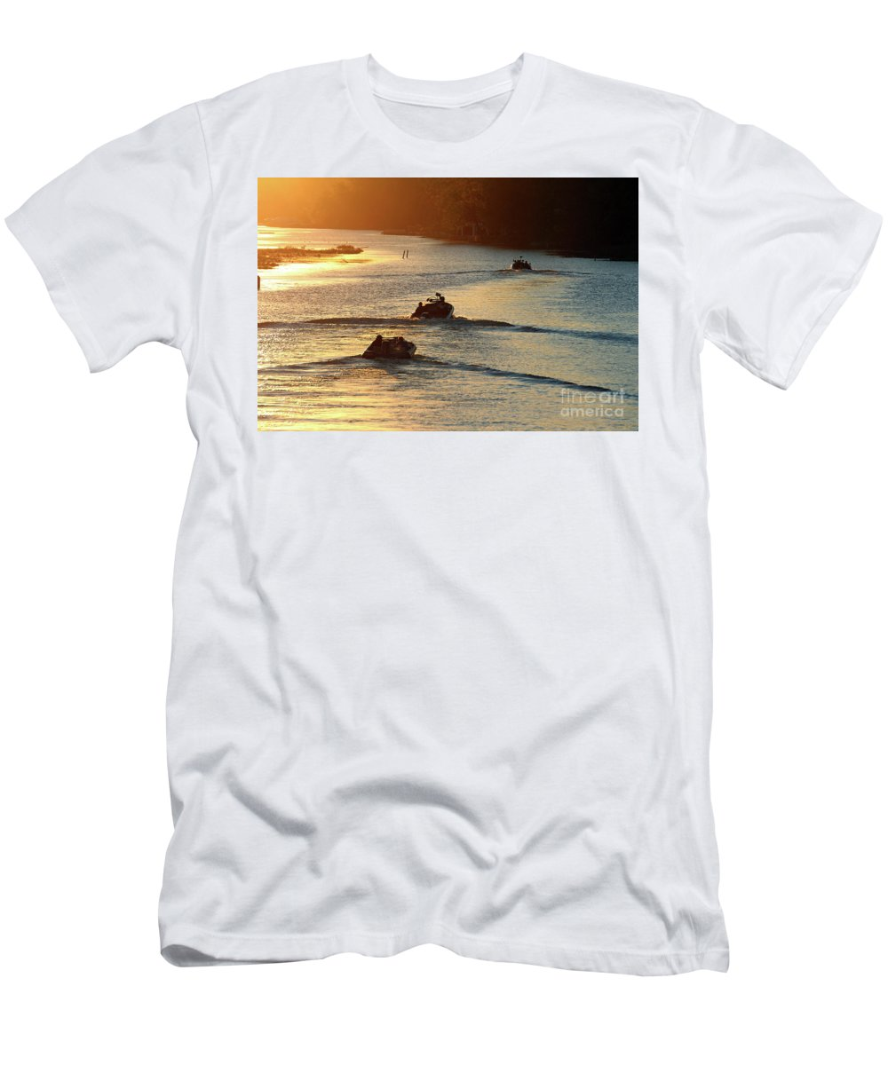 Dawn Men's T-Shirt (Athletic Fit) featuring the photograph Dawn Patrol by Steve Gass