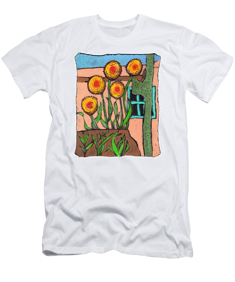 Desert Men's T-Shirt (Athletic Fit) featuring the painting Desert Fantasy by Wayne Potrafka