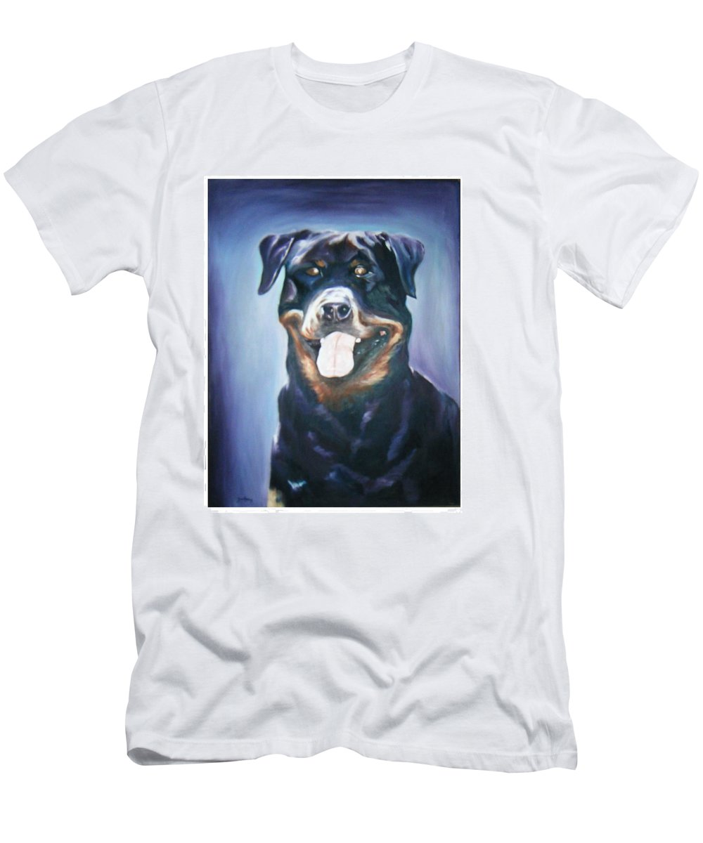 Dog Paintings Men's T-Shirt (Athletic Fit) featuring the painting Dog by Olaoluwa Smith