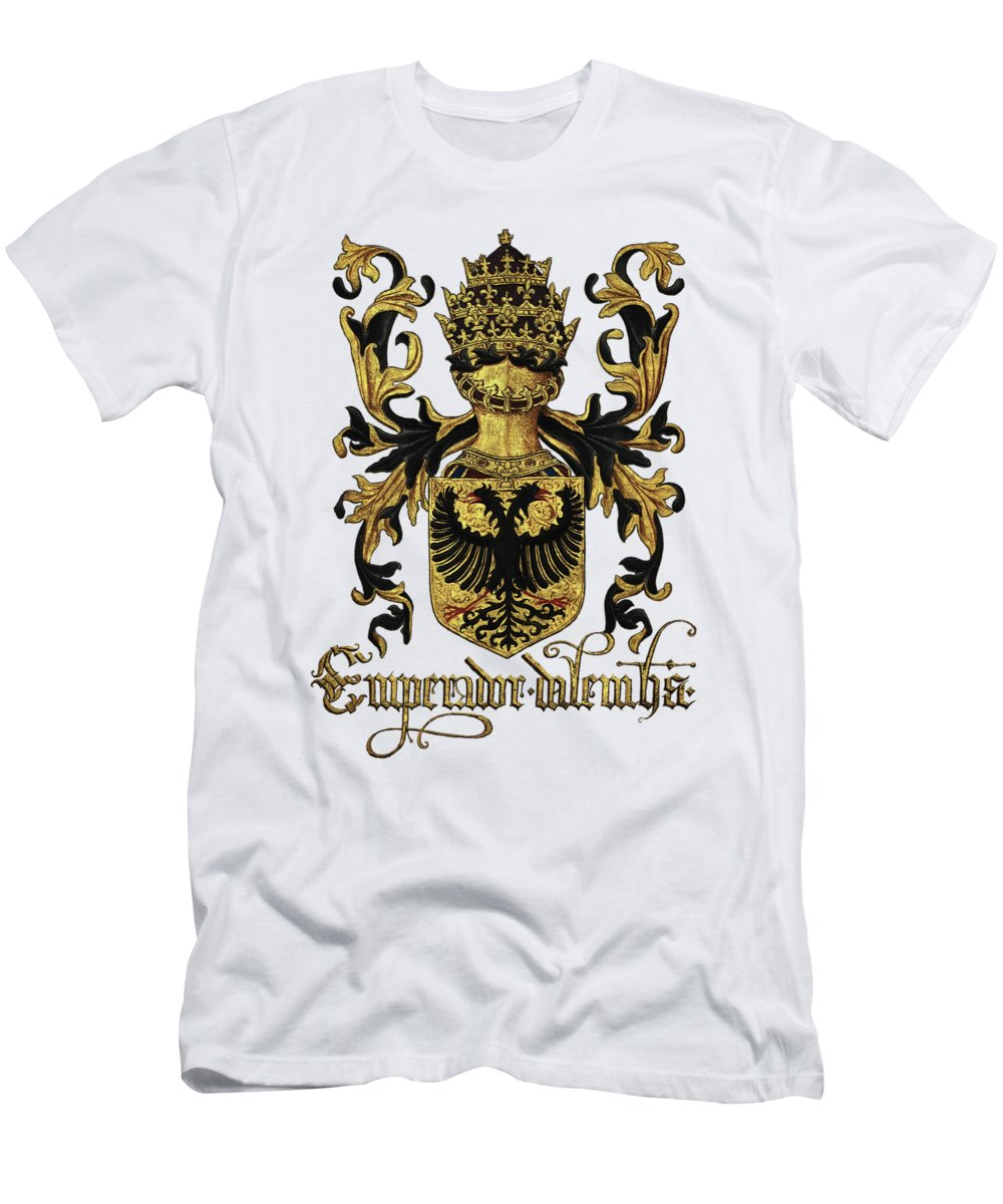 'roll Of Arms� Collection By Serge Averbukh T-Shirt featuring the photograph Emperor of Germany Coat of Arms - Livro do Armeiro-Mor by Serge Averbukh