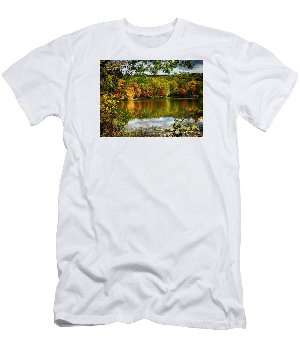 Lake Men's T-Shirt (Athletic Fit) featuring the photograph Fall In Pennsylvania by Carol A Commins
