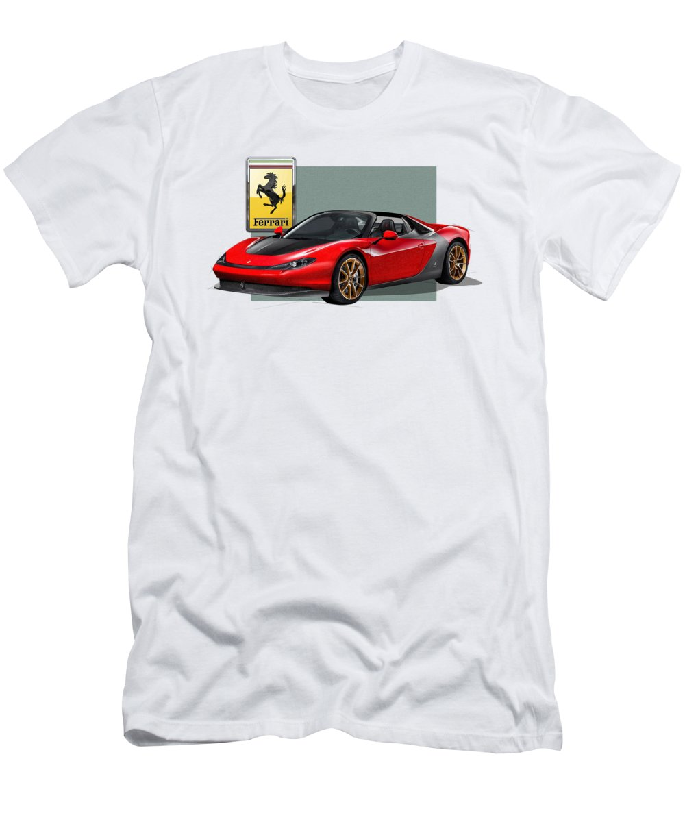 �ferrari� Collection By Serge Averbukh Men's T-Shirt (Slim Fit) featuring the photograph Ferrari Sergio With 3d Badge by Serge Averbukh