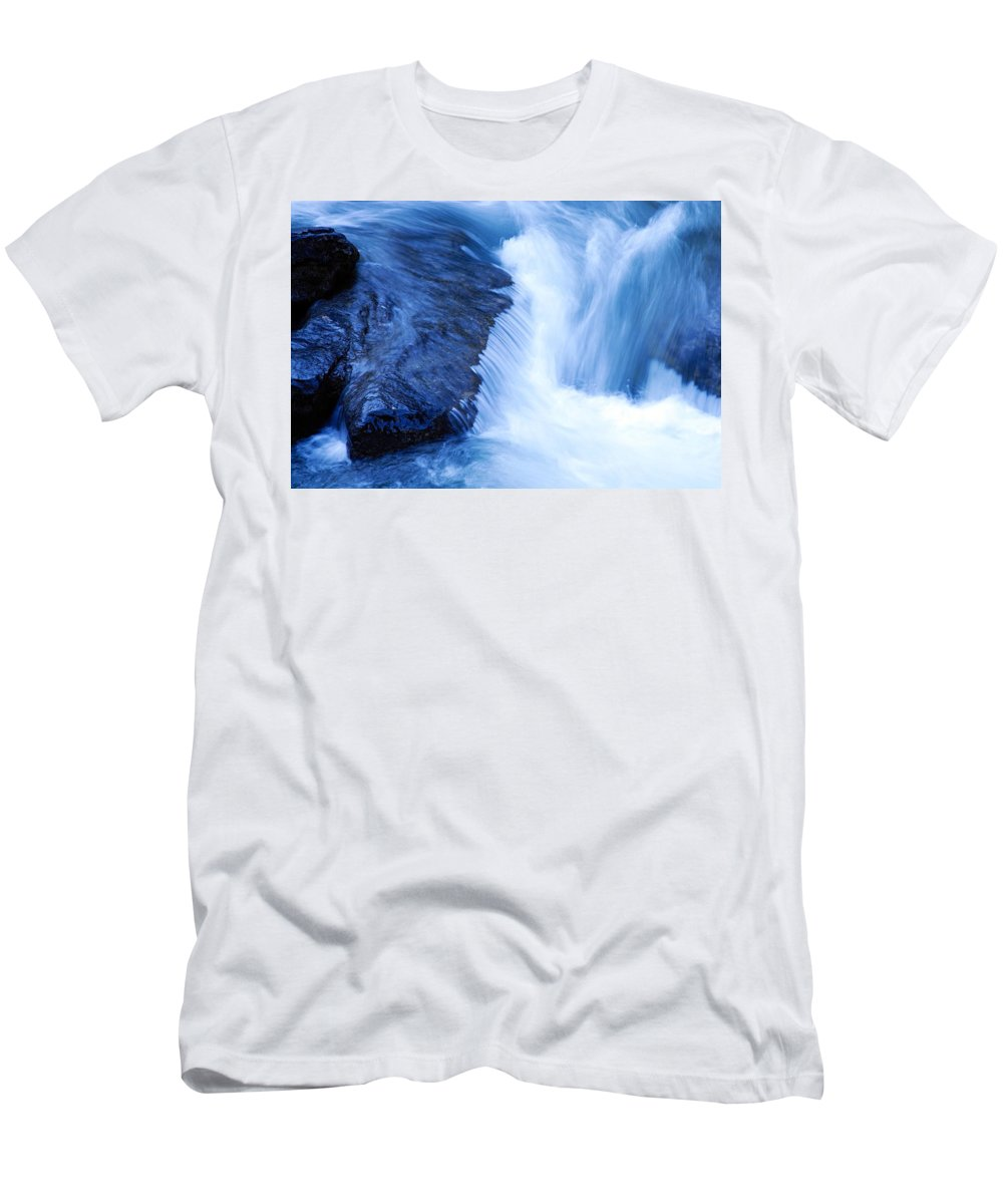 Maligne Canyon Men's T-Shirt (Athletic Fit) featuring the photograph Flowing Water by Larry Ricker
