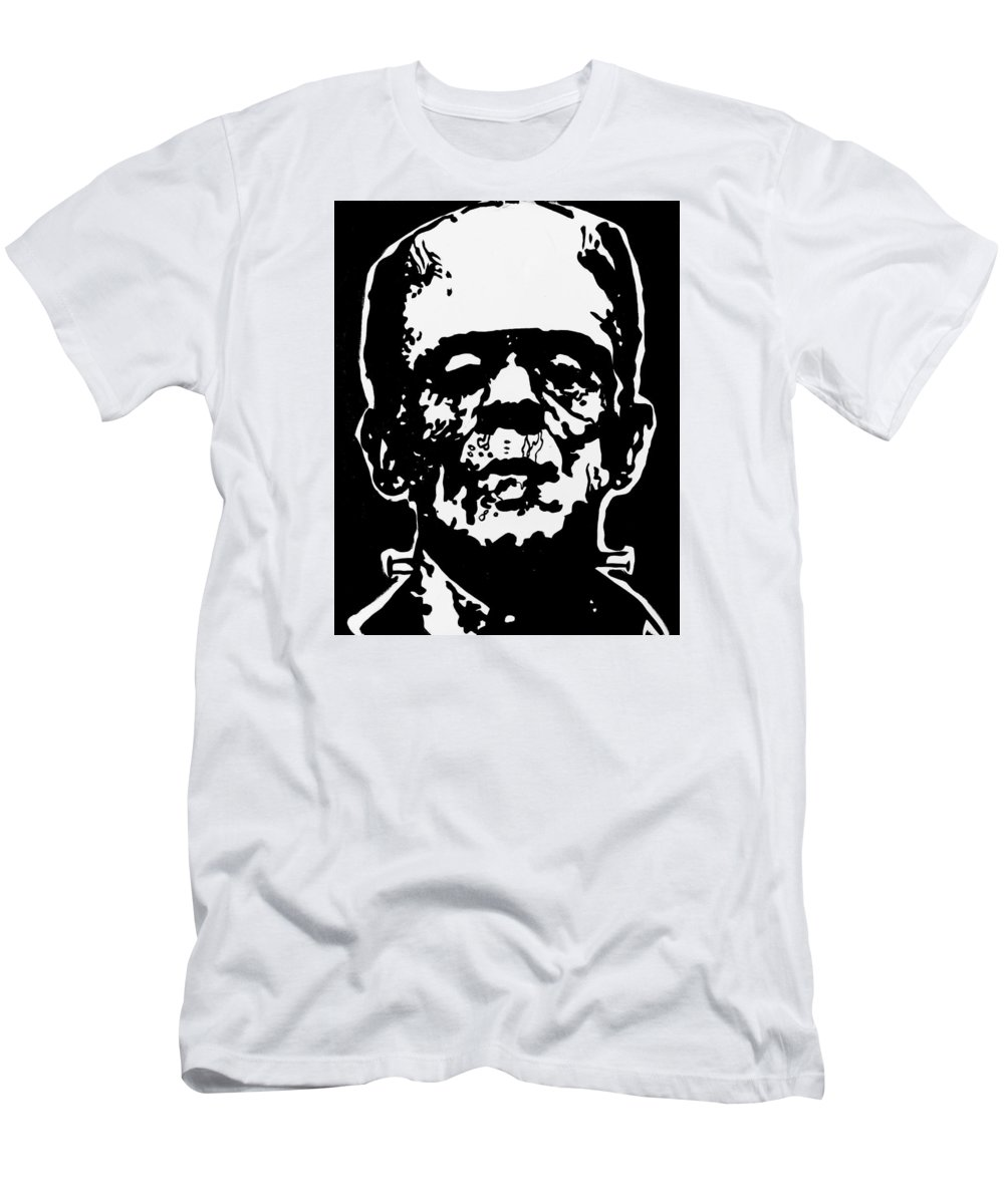 Frankenstein Men's T-Shirt (Athletic Fit) featuring the painting Frankenstein by Marisela Mungia