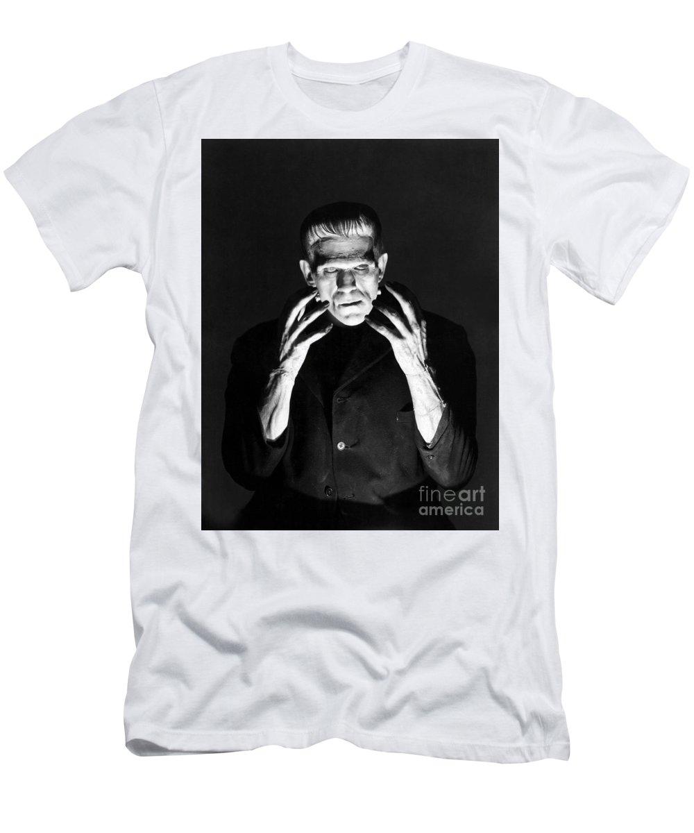 Frankensteins Men's T-Shirt (Athletic Fit) featuring the photograph Frankensteins Monster Boris Karloff by R Muirhead Art