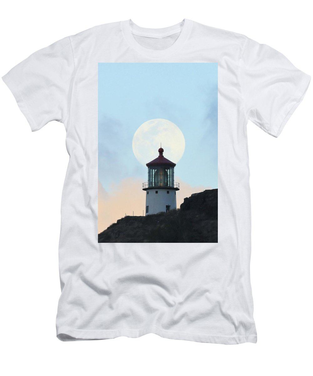 Photosbymch Men's T-Shirt (Athletic Fit) featuring the photograph Full Moon Over Makapu'u Light by M C Hood