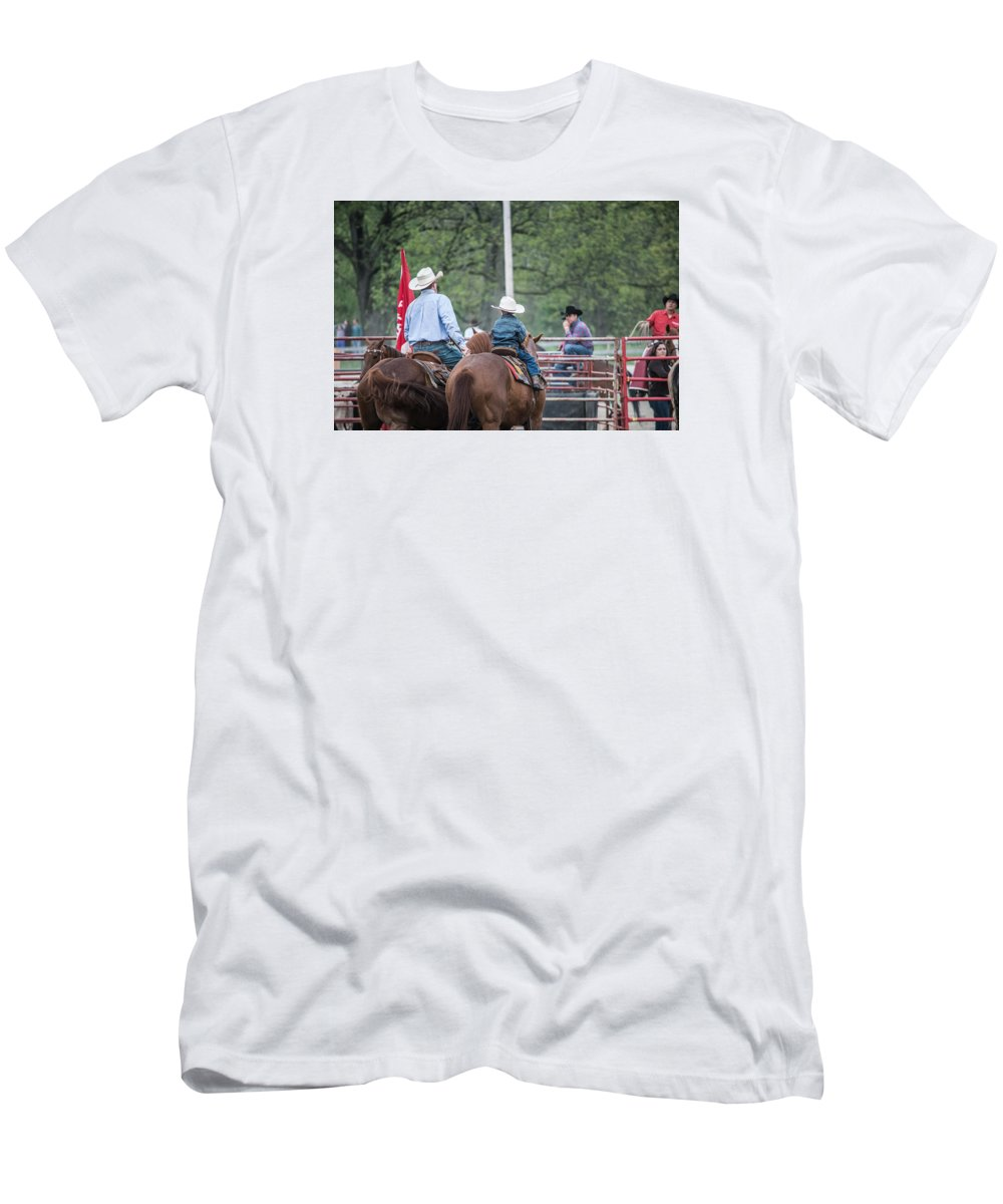 Orange & Blue Rodeo Men's T-Shirt (Athletic Fit) featuring the photograph G by Terry Brown