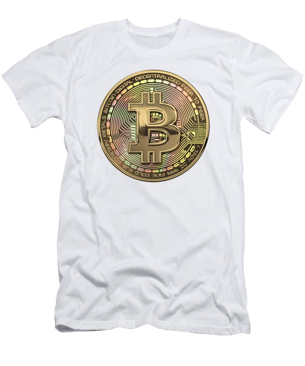 'money' Collection By Serge Averbukh Men's T-Shirt (Athletic Fit) featuring the photograph Gold Bitcoin Effigy Over White Leather by Serge Averbukh