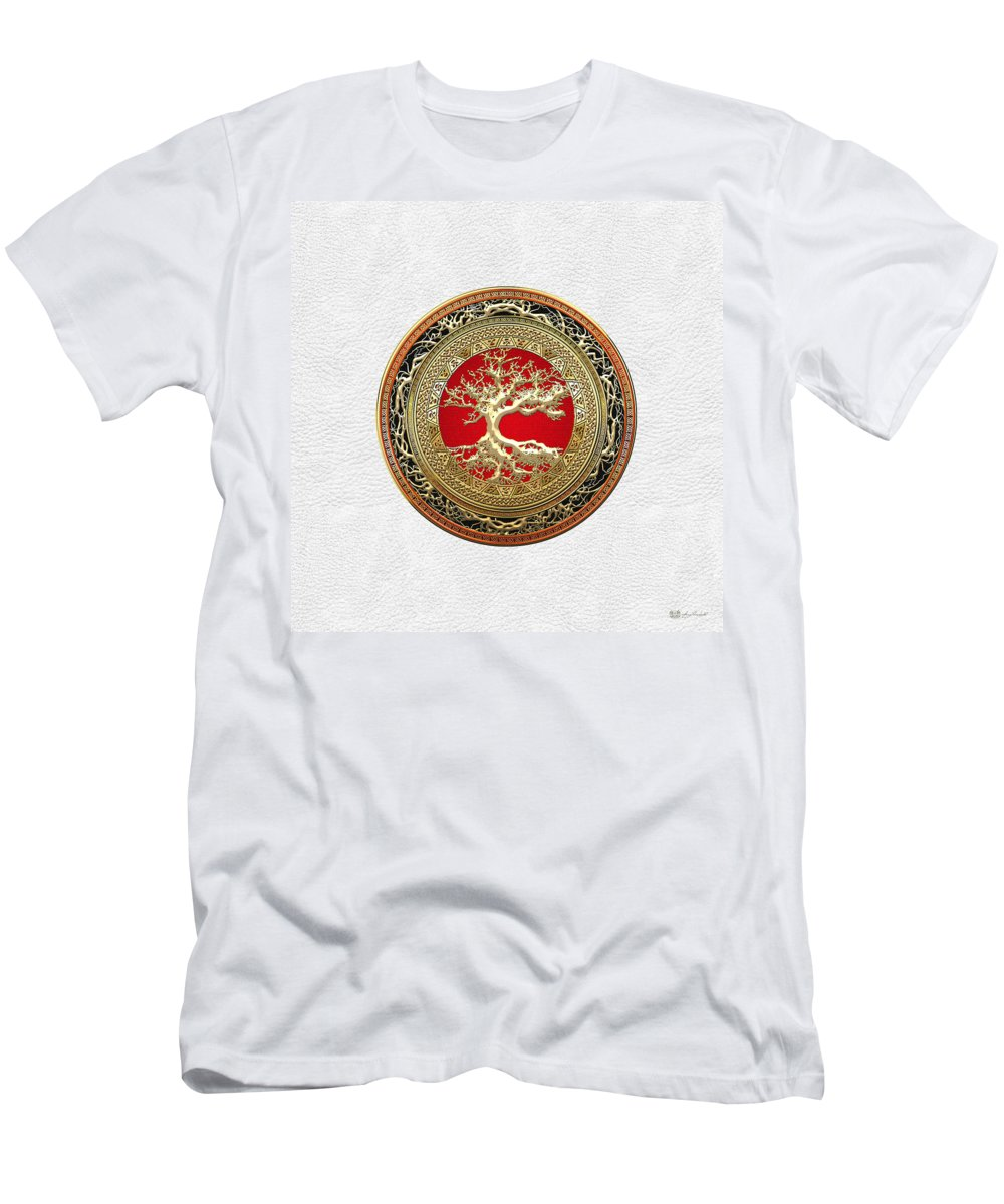 Treasure Trove By By Serge Averbukh T-Shirt featuring the photograph Gold Celtic Tree of Life on White Leather by Serge Averbukh