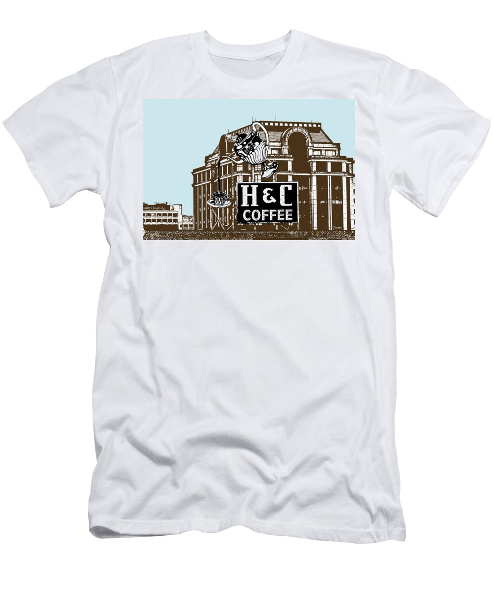 H Men's T-Shirt (Athletic Fit) featuring the photograph H And C Coffee Sign Roanoke Virginia by Teresa Mucha