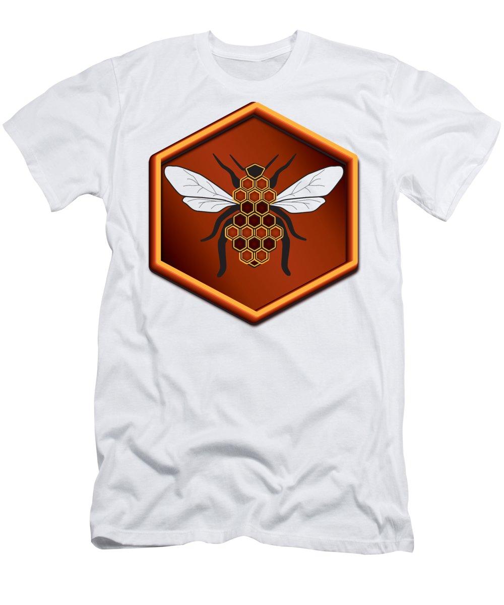 Cartoon T-Shirt featuring the digital art Honeycomb Bee by Pelo Blanco Photo