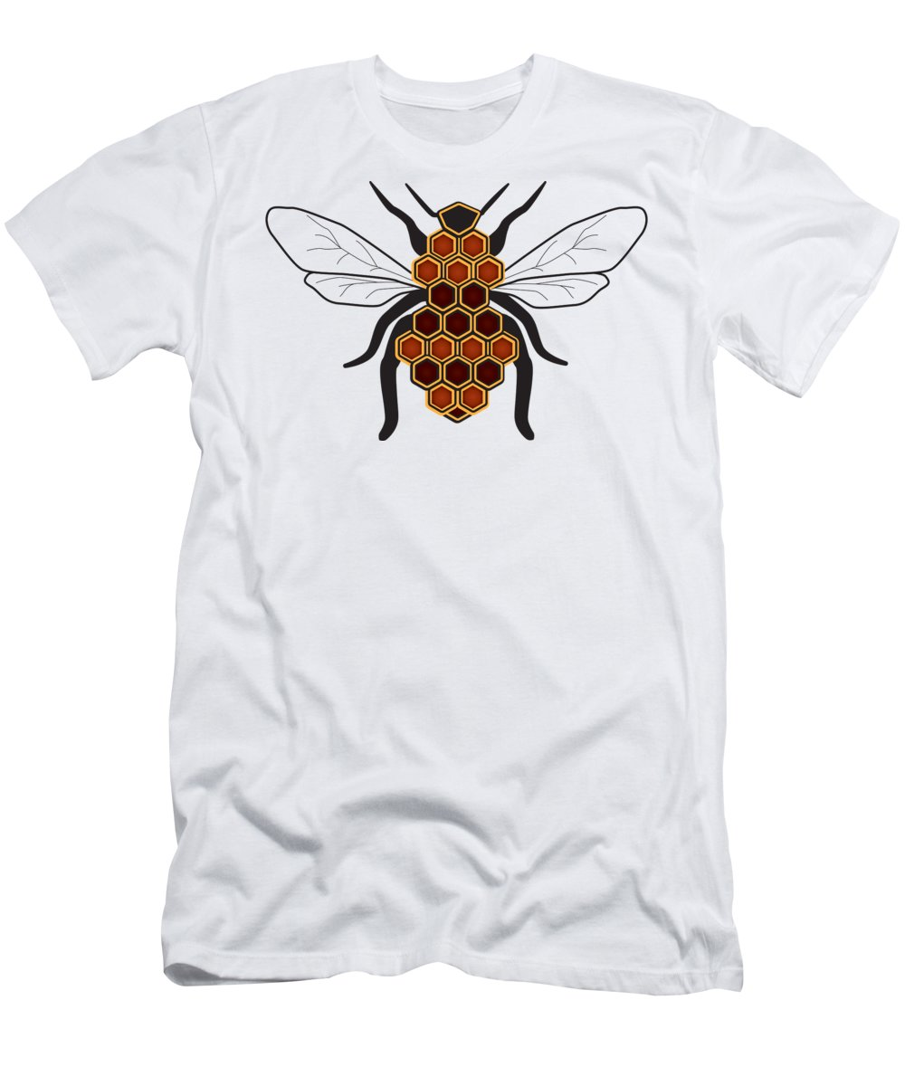 Cartoon T-Shirt featuring the digital art Honeycomb Bee Sans Border by Pelo Blanco Photo