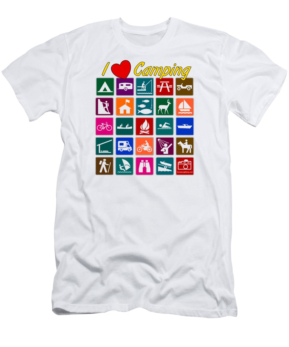 Outdoor Life Men's T-Shirt (Athletic Fit) featuring the digital art I Love Camping by The Nature Gift Shop