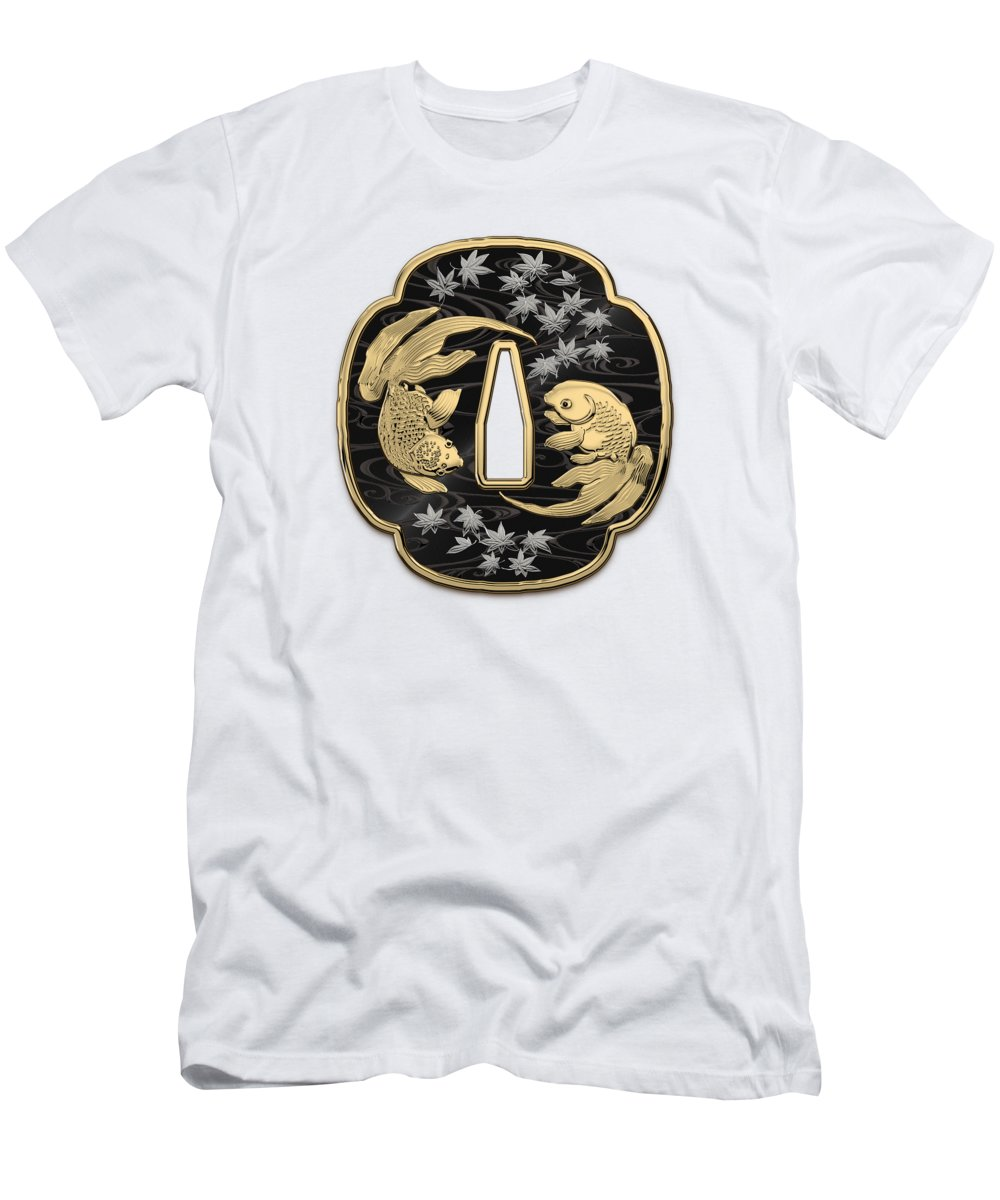 'treasures Of Japan' Collection By Serge Averbukh T-Shirt featuring the photograph Japanese Katana Tsuba - Twin Gold Fish on Black Steel over White Leather by Serge Averbukh