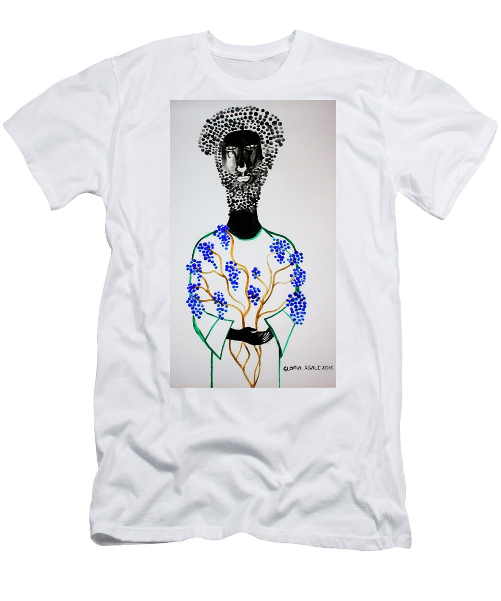 Jesus Men's T-Shirt (Athletic Fit) featuring the painting Jesus The Vine by Gloria Ssali