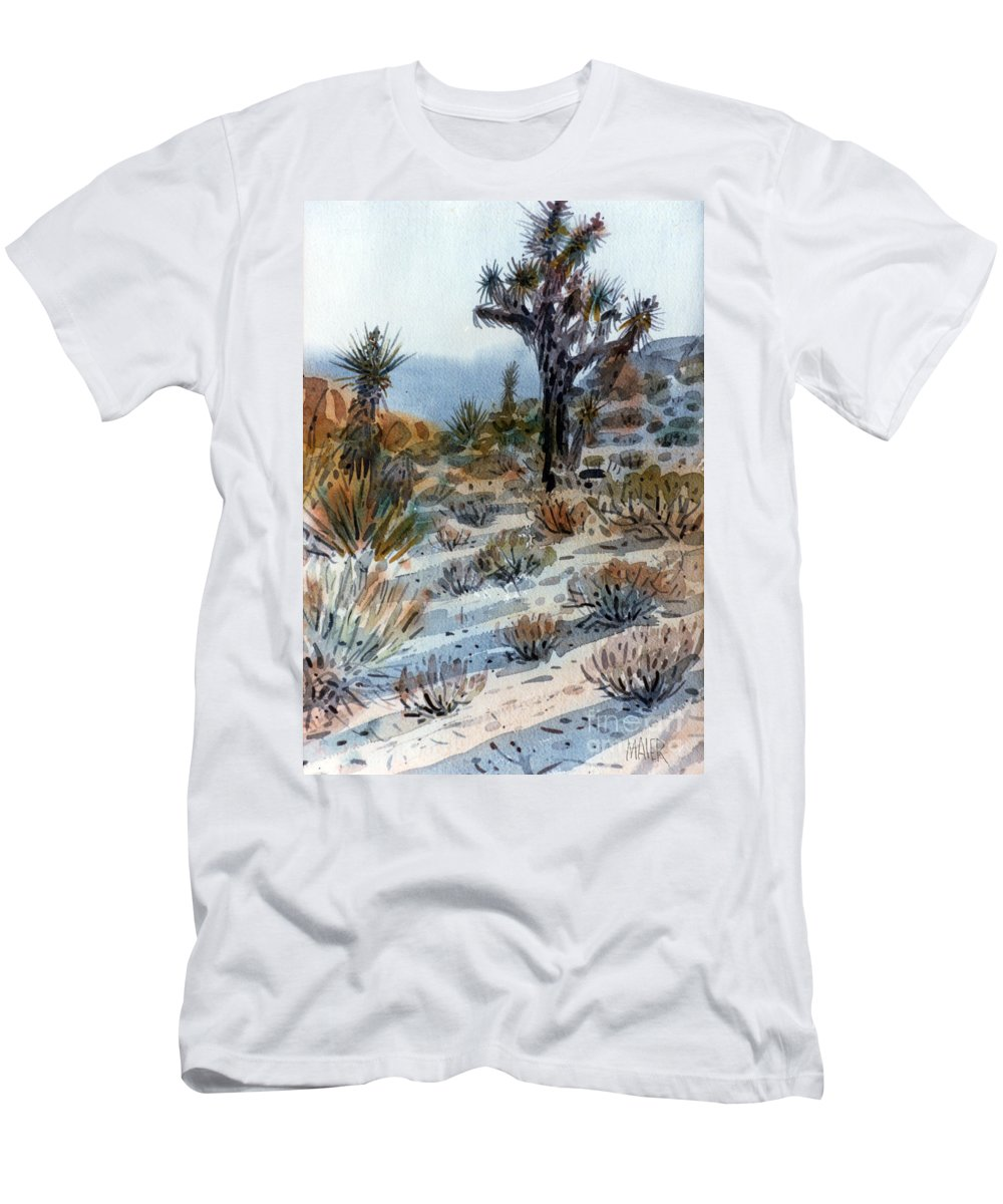 Joshua Tree Men's T-Shirt (Athletic Fit) featuring the painting Joshua Tree by Donald Maier