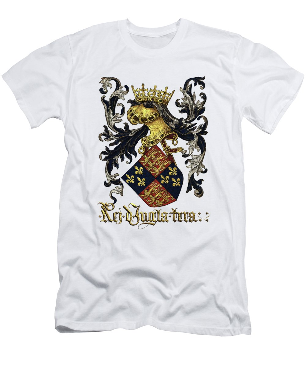 'roll Of Arms� Collection By Serge Averbukh T-Shirt featuring the photograph King of England Coat of Arms - Livro do Armeiro-Mor by Serge Averbukh