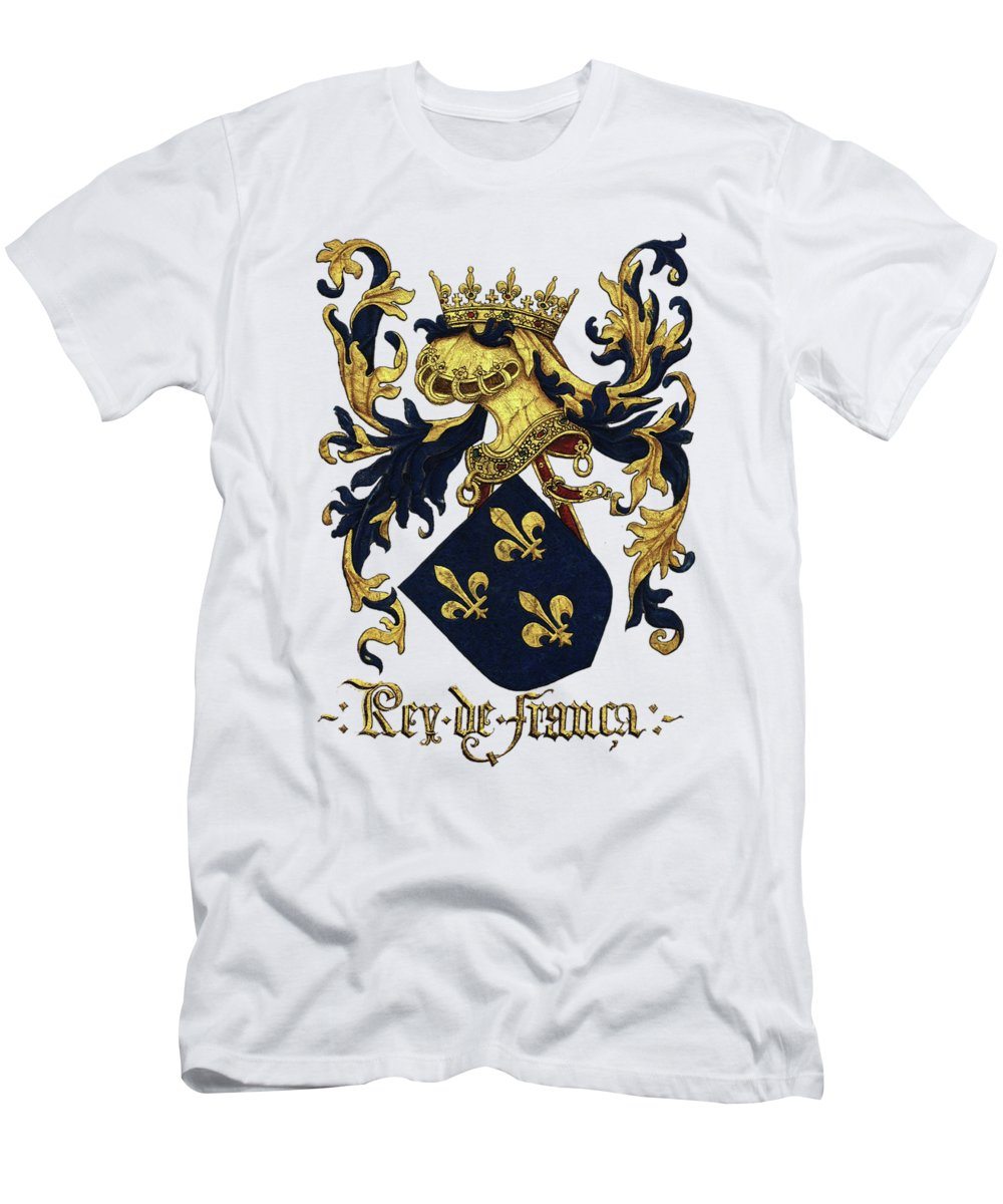 'roll Of Arms� Collection By Serge Averbukh T-Shirt featuring the photograph King of France Coat of Arms - Livro do Armeiro-Mor by Serge Averbukh