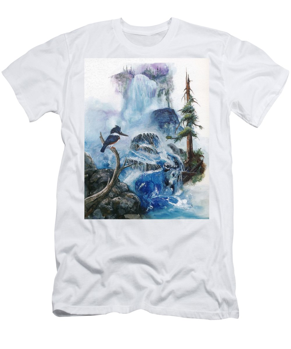 Kingfisher Men's T-Shirt (Athletic Fit) featuring the painting Kingfisher's Realm by Sherry Shipley