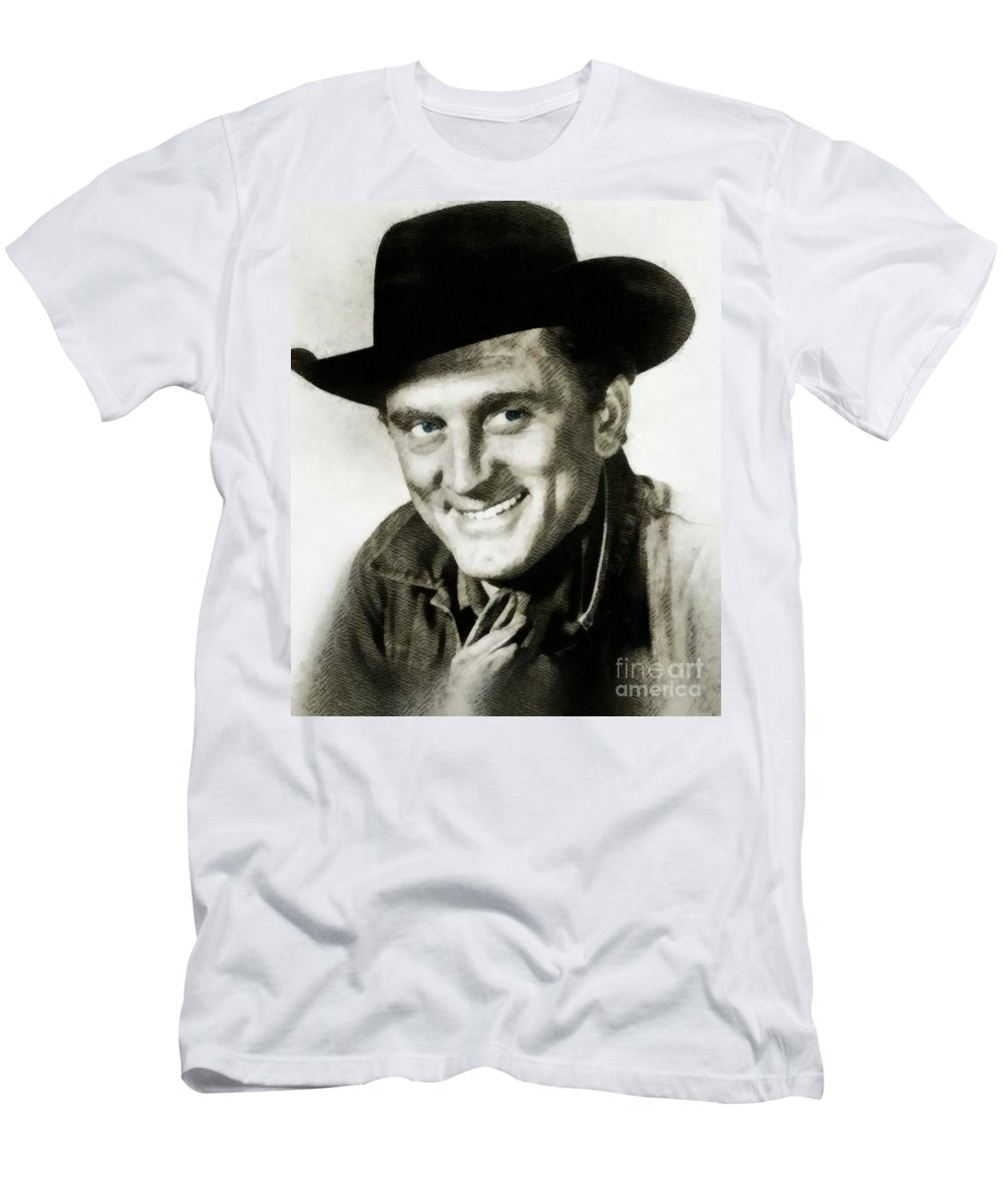 Kirk Men's T-Shirt (Athletic Fit) featuring the painting Kirk Douglas, Vintage Actor by John Springfield