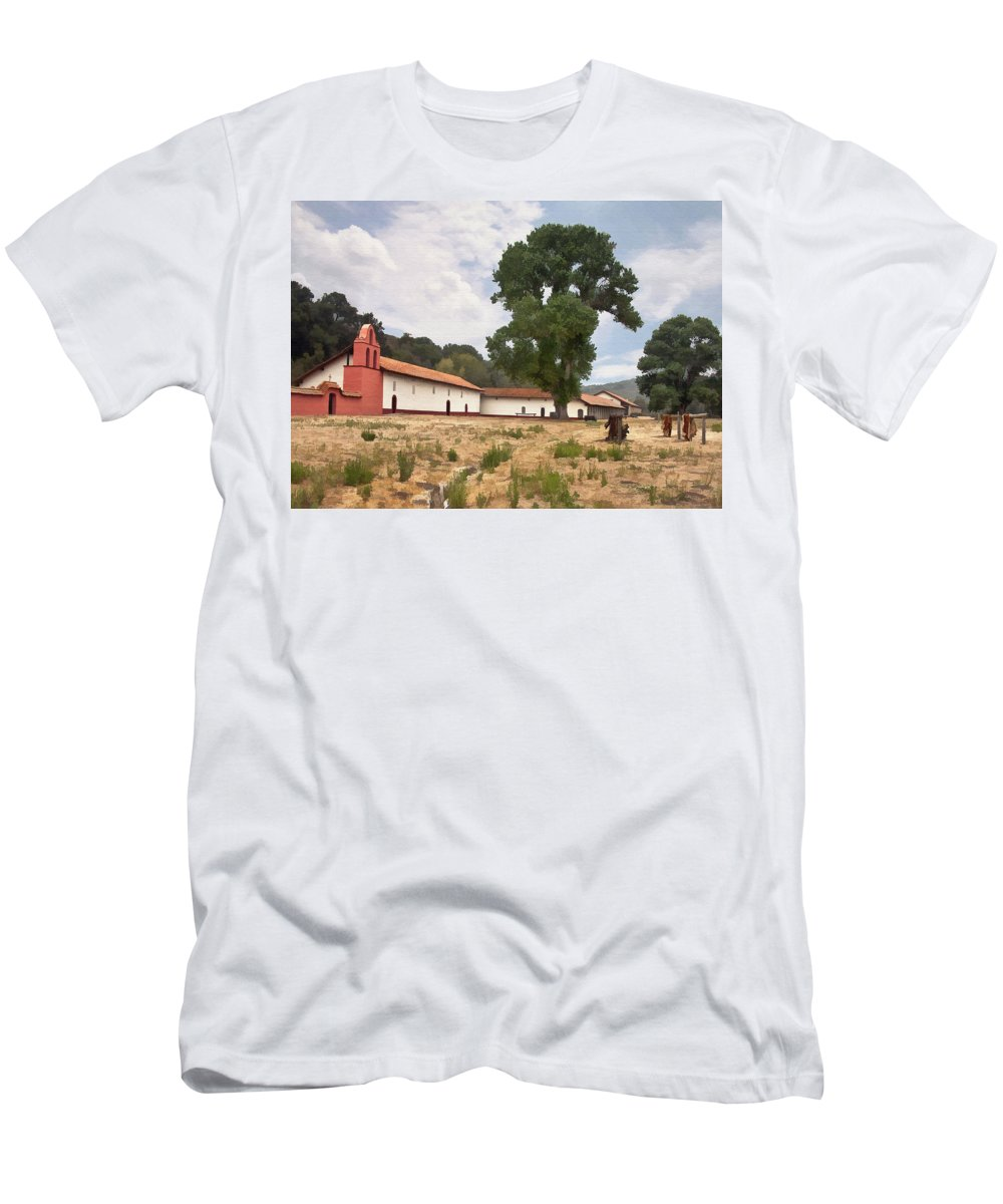 Mission Men's T-Shirt (Athletic Fit) featuring the digital art La Purisima Mission II by Sharon Foster