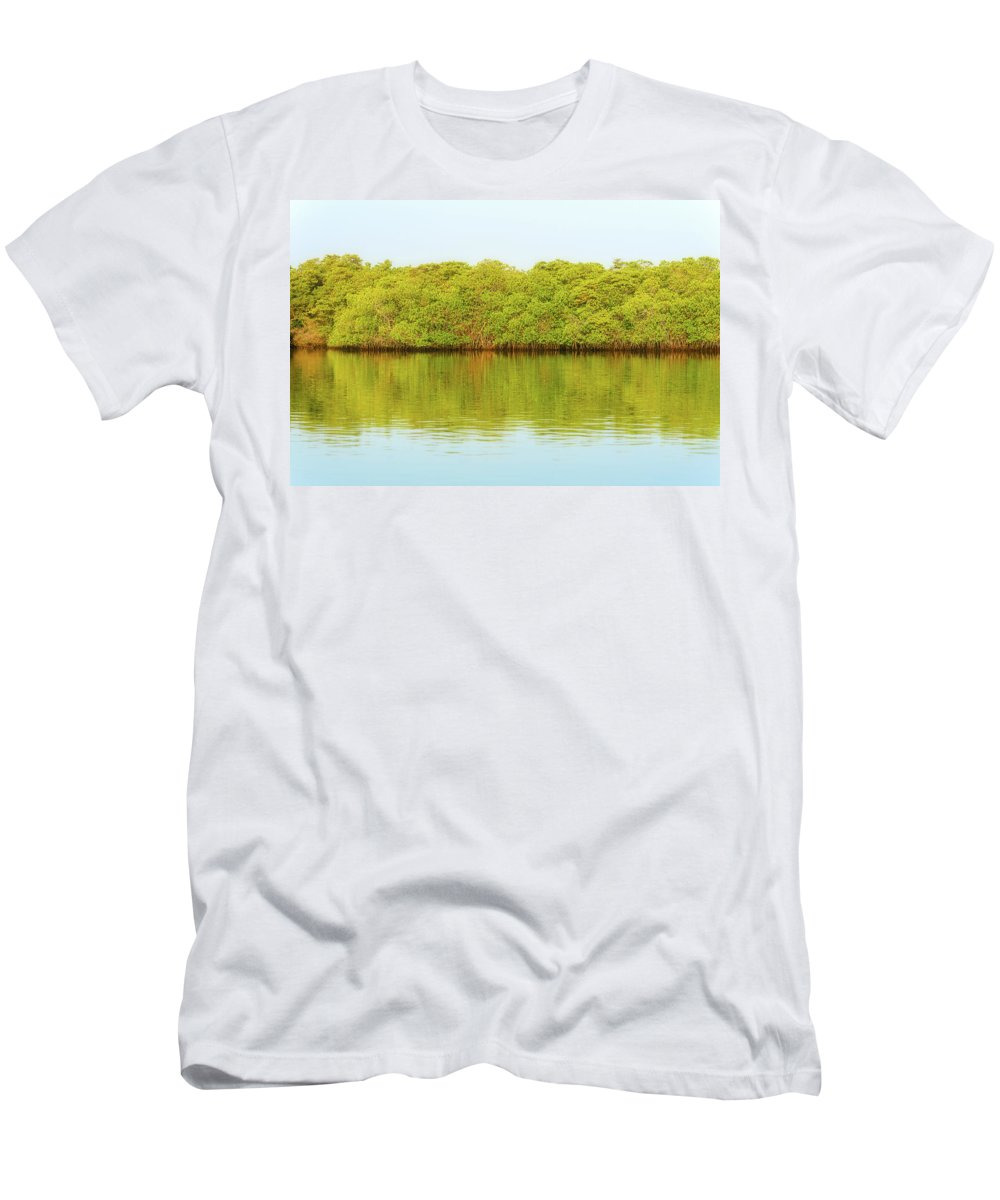 Lagoon Men's T-Shirt (Athletic Fit) featuring the photograph Lagoon On Santa Cruz Island In Galapagos by Marek Poplawski