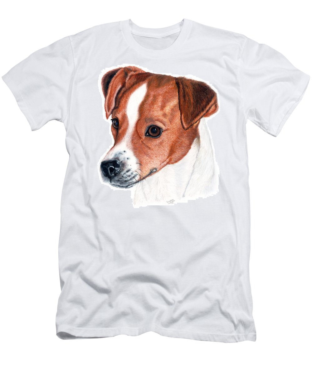 Jack Russell Terrier Men's T-Shirt (Athletic Fit) featuring the drawing Lewie by Kristen Wesch