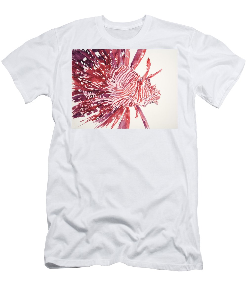 Animal Art Men's T-Shirt (Athletic Fit) featuring the painting Lionfish by Tanya L Haynes - Printscapes