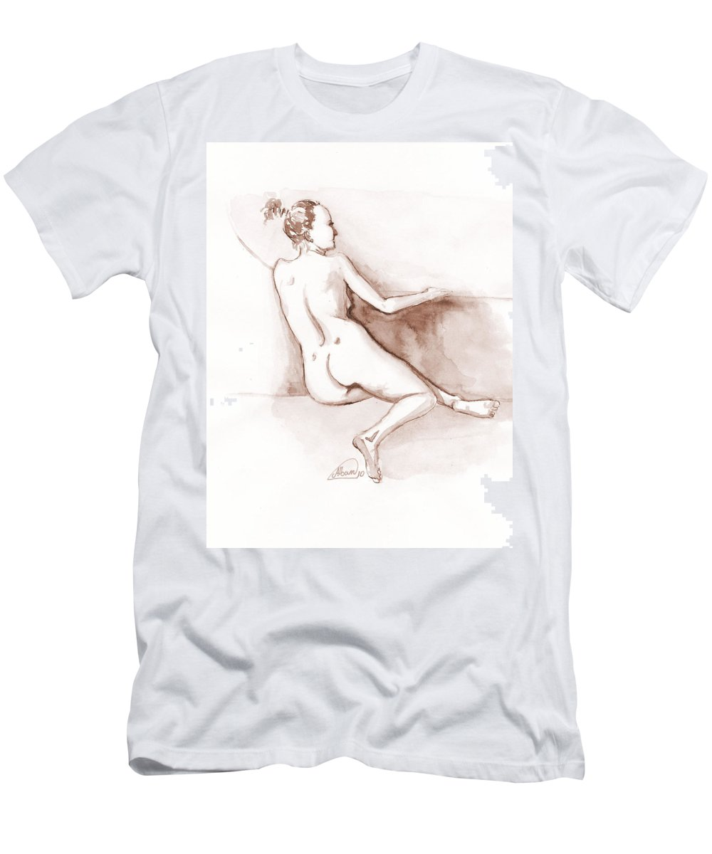 Nude T-Shirt featuring the painting Live Model Figure  by Alban Dizdari