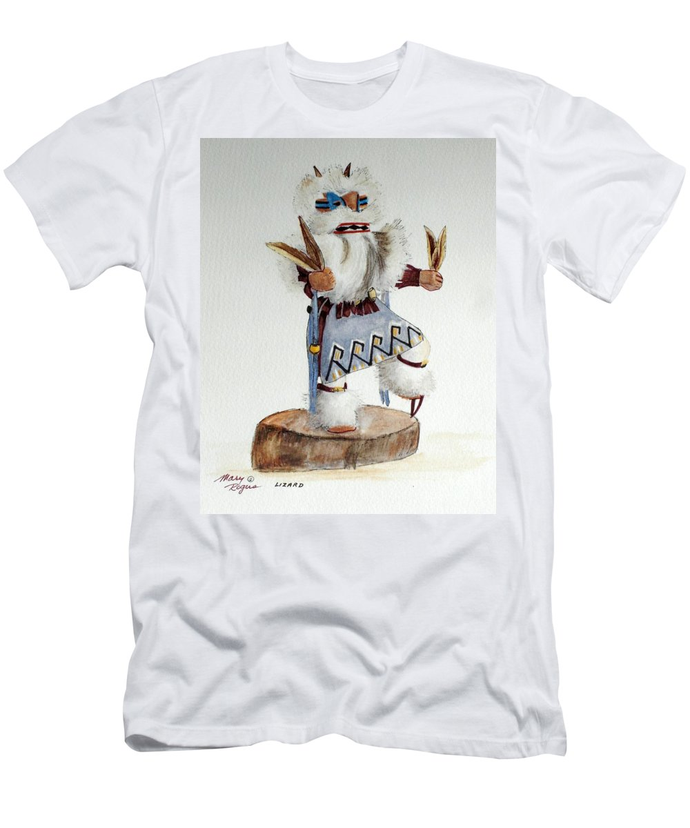 Lizard Men's T-Shirt (Athletic Fit) featuring the mixed media Lizard by Mary Rogers