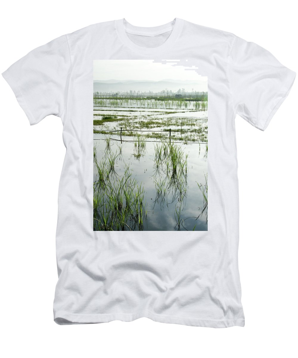 Asia Men's T-Shirt (Athletic Fit) featuring the photograph Misty Morning In China by Michele Burgess
