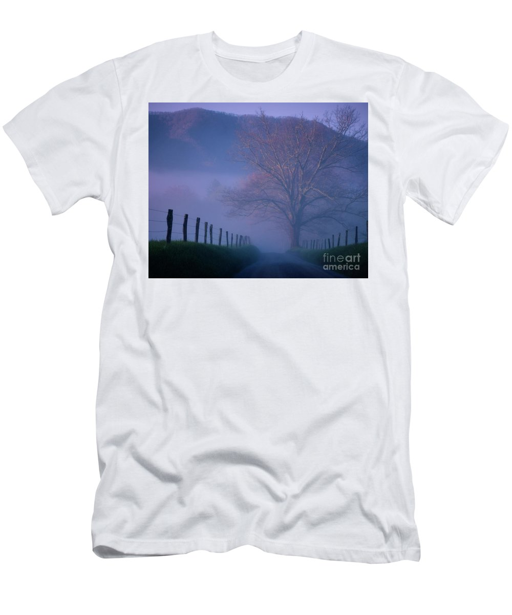 Nature Men's T-Shirt (Athletic Fit) featuring the photograph Morning Fog, #1, Smoky Mountains, Tennessee by Stanton Tubb