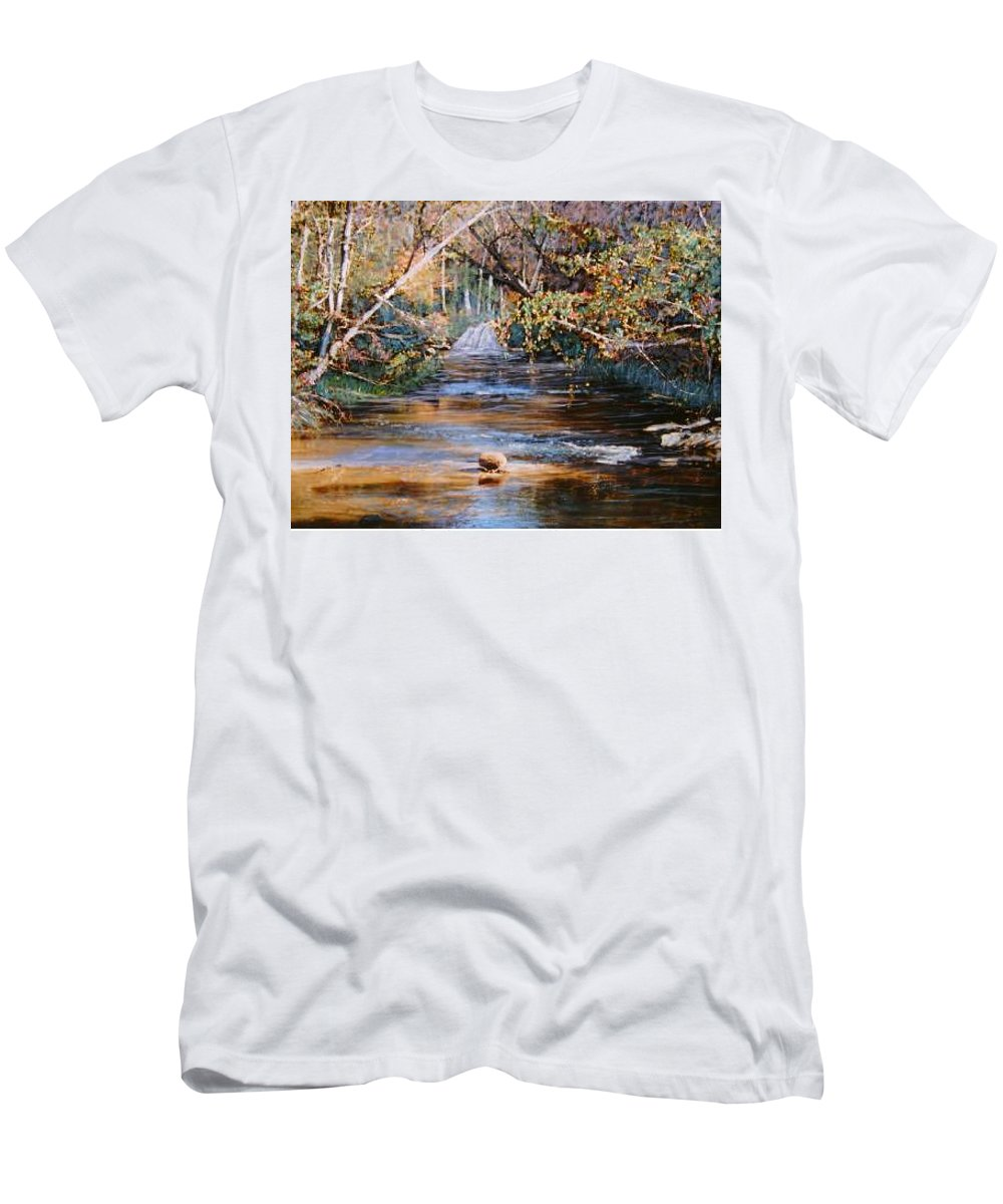 River; Waterfalls Men's T-Shirt (Athletic Fit) featuring the painting My Secret Place by Ben Kiger