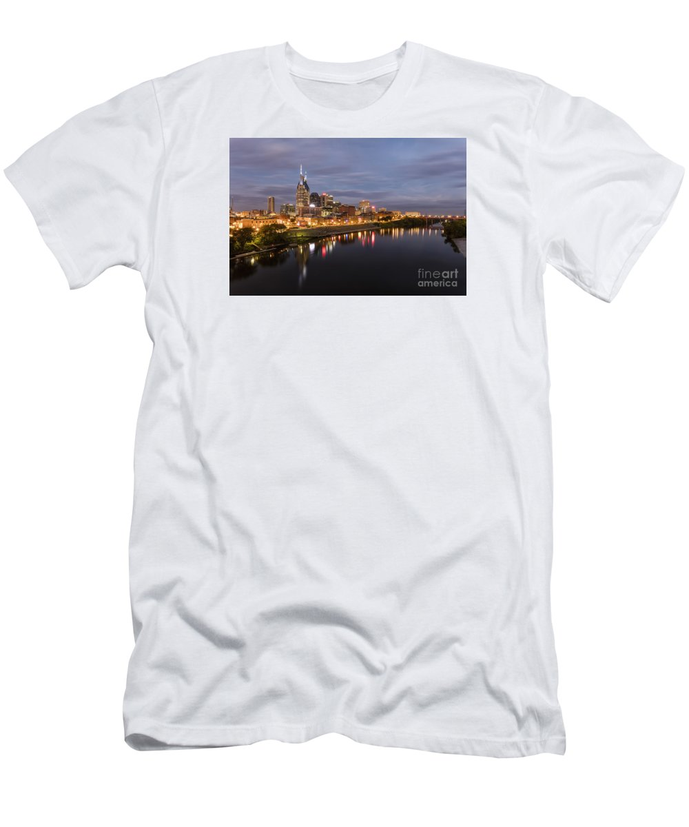 Nashville Skyline Men's T-Shirt (Athletic Fit) featuring the photograph Nashville Tennessee Skyline Sunrise by Jeremy Holmes