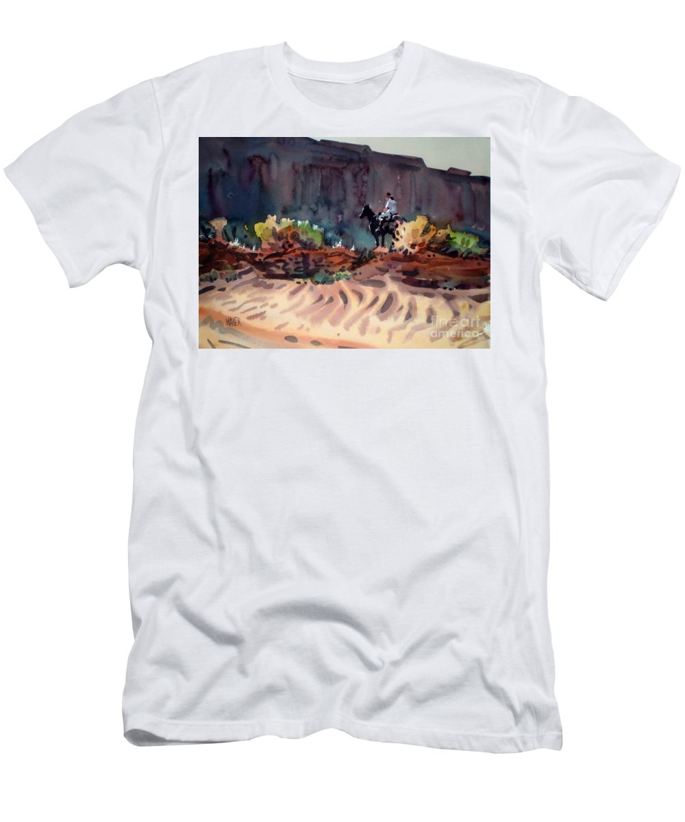 Equestrian Men's T-Shirt (Athletic Fit) featuring the painting Navajo Rider by Donald Maier