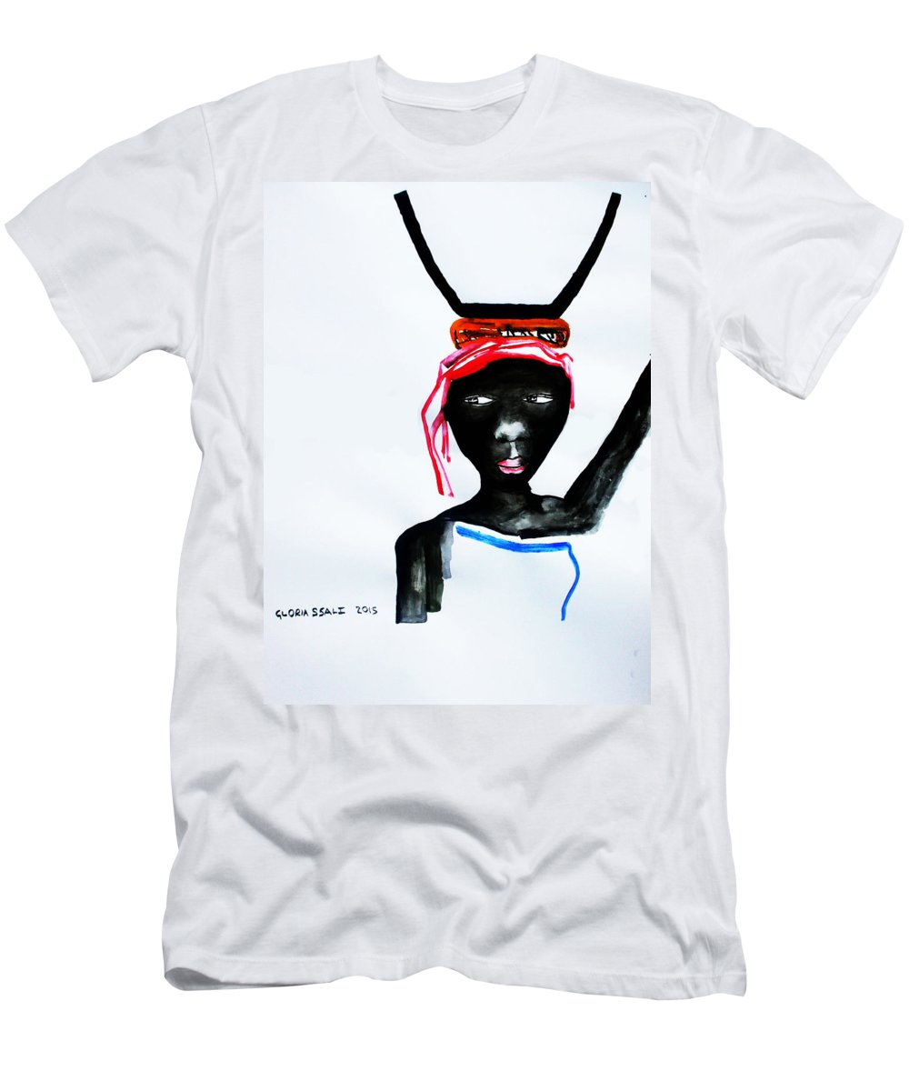 Jesus Men's T-Shirt (Athletic Fit) featuring the painting Nuer Lady - South Sudan by Gloria Ssali