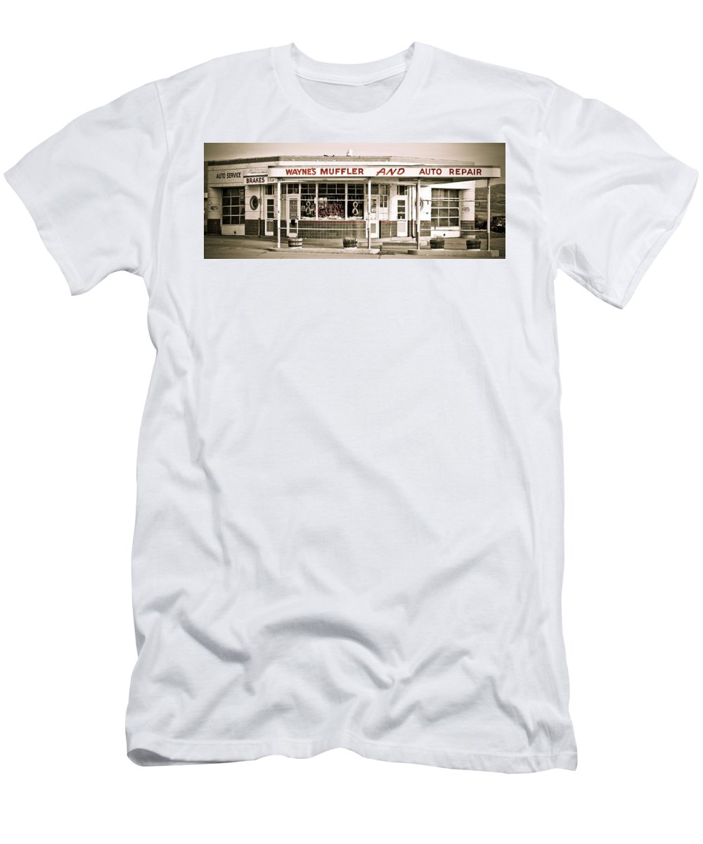 Filling Station Men's T-Shirt (Athletic Fit) featuring the photograph Old Art Deco Filling Station by Marilyn Hunt