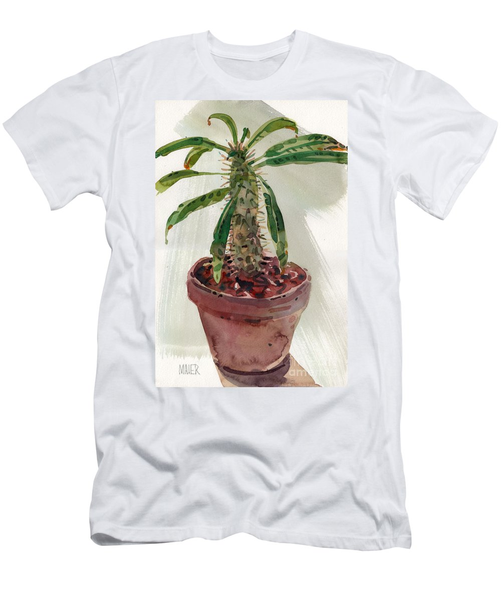 Euphorbia Men's T-Shirt (Athletic Fit) featuring the painting Pachypodium by Donald Maier