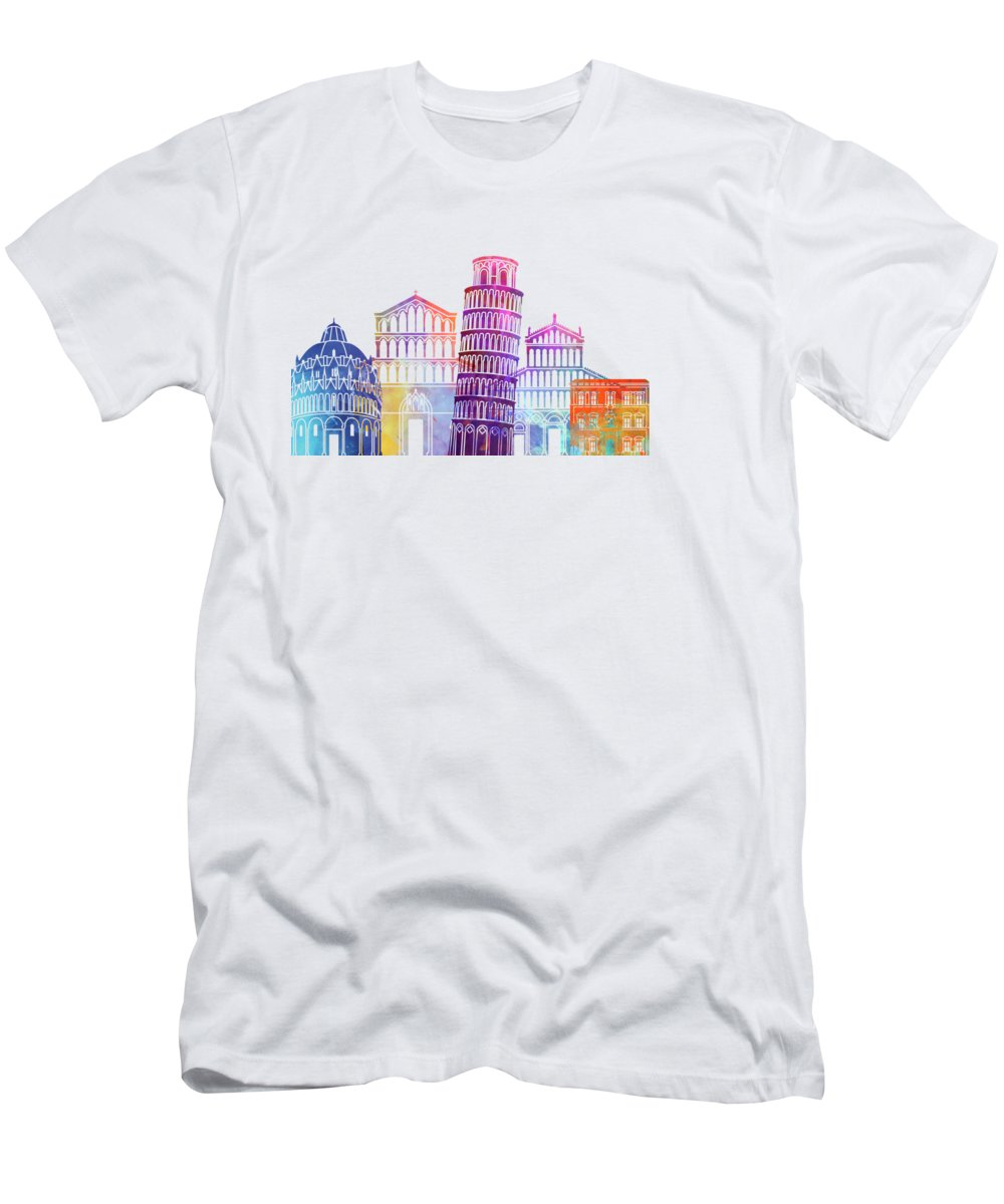 Europe Men's T-Shirt (Athletic Fit) featuring the painting Barcelona Landmarks Watercolor Poster by Pablo Romero