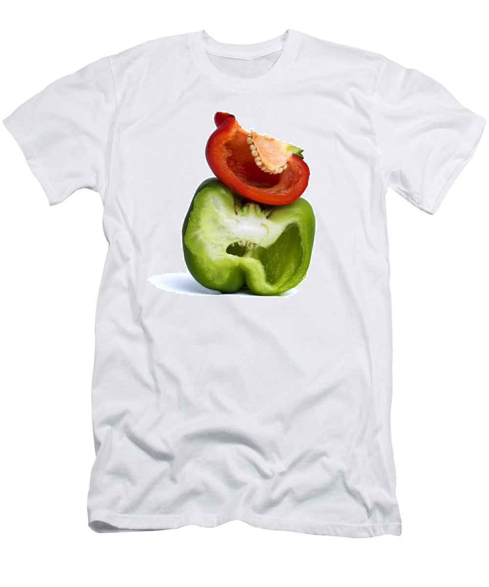 Peppers Men's T-Shirt (Athletic Fit) featuring the photograph Peppers by Bernard Jaubert