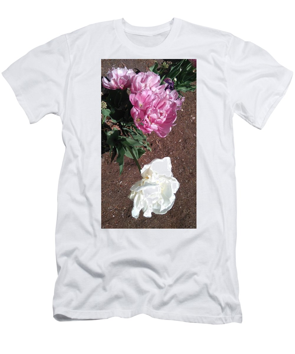 Pink Peony In Spring In Botanical Garden Men's T-Shirt (Athletic Fit) featuring the photograph Pink Peony by Connie Du