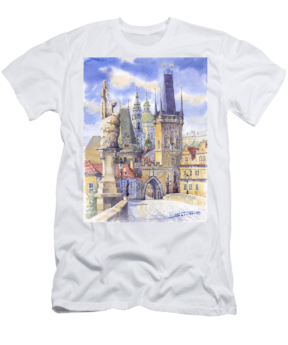 Watercolour Men's T-Shirt (Athletic Fit) featuring the painting Prague Charles Bridge by Yuriy Shevchuk