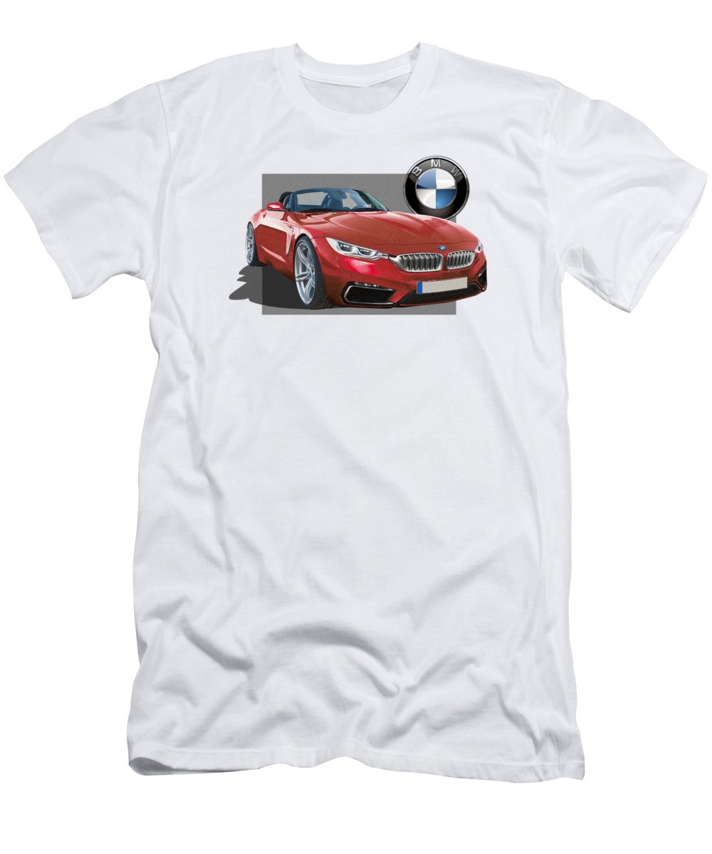 �bmw� Collection By Serge Averbukh Men's T-Shirt (Athletic Fit) featuring the photograph Red 2018 B M W Z 5 With 3 D Badge by Serge Averbukh