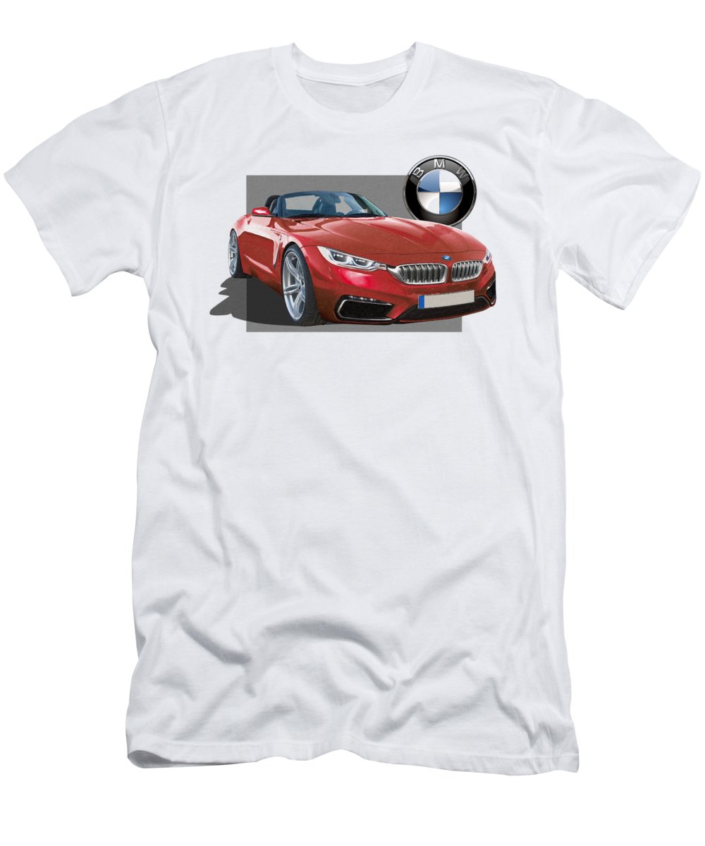 �bmw� Collection By Serge Averbukh T-Shirt featuring the photograph Red 2018 B M W Z 5 with 3 D Badge by Serge Averbukh